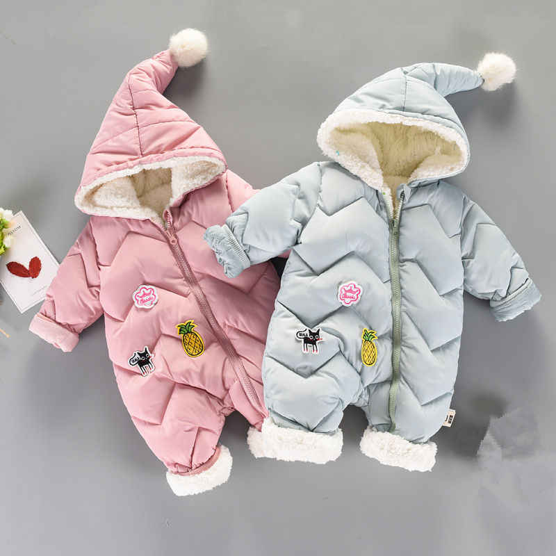 2019 Winter Baby Romper For Newborn Thick Warm Baby Girs Boys Jumpsuit Overalls Baby Wear 0-18m Infant Clothing Kids Costumes