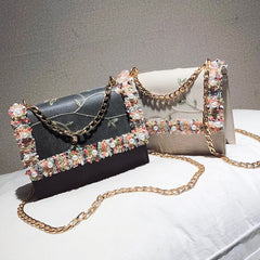 Women's fashion Shoulder Bags crochet hand embroidery embroidered pearl casual chain Crossbody bag