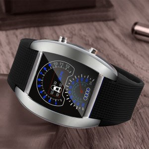 Susenstone Fashion Brand Aviation Turbo Dial LED Military Watch Men Sport Car Meter Multifunction Clock Relogio Masculino 40