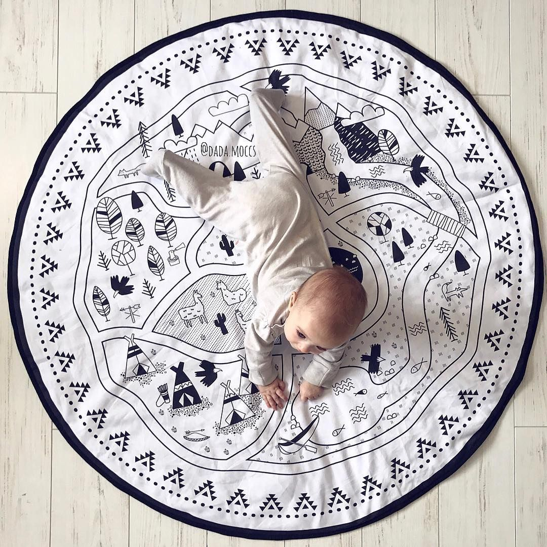 Intelligence toy Kids DIY graffiti Room decoration portable Play Mat Large 135CM durable round baby activity gyms mat blanket