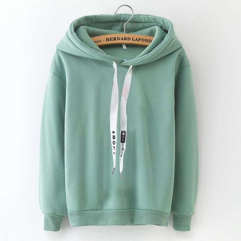 S-XXXL Autumn Winter Fleece Harajuku Pullover Solid Thick Loose Women Hoodies Sweatshirts Female Casual Coat