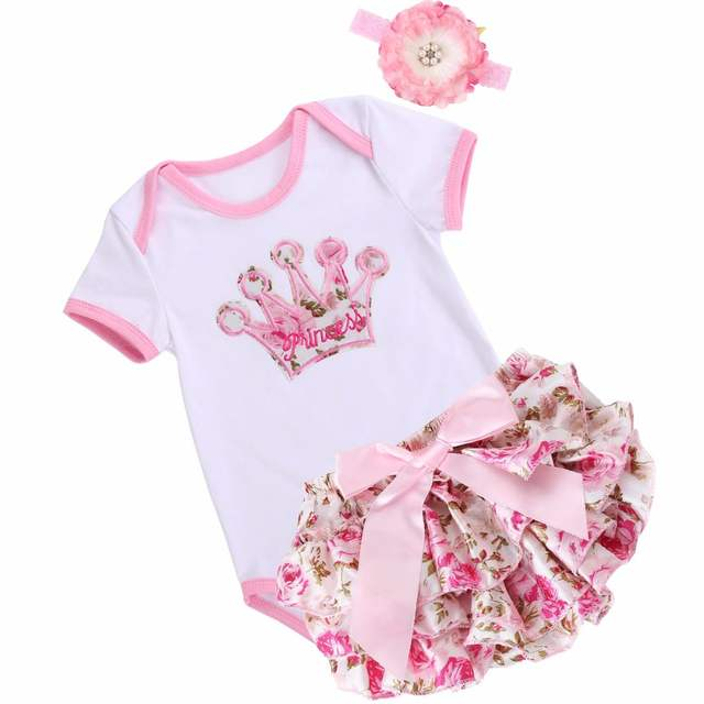New Born Baby Girls Summer Clothing Short Sleeved Dress + Jacket Suit Infant Baby Cartoon Printed Flower Body Suit Cotton Outfit