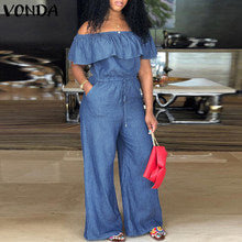 VONDA Rompers Womens Jumpsuit Casual Loose Plus Size Playsuits 2019 Summer Sexy Club Demin Overalls Female Wide Leg Pants S-5XL