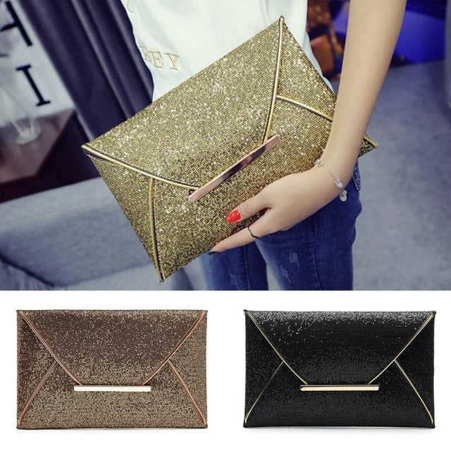 Women Evening Bag Party Envelope Clutch Handbag Glitter Sequins Sparkling Banquet Glitter Bag For Ladies Girls Wedding Clutches
