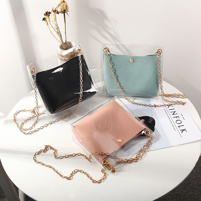 Small Leather Handbags for Women 2019 Transperent PVC Hand Bags Female Mini Shoulder Bag Black Crossbody Messenger Phone Pouch