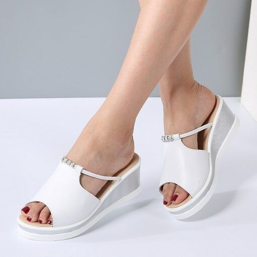 O16U Women Slipper Sandals Heels Wedges Platform Leather Peep toe Crystal Elegant Female Sandals Ladies Mules clogs Summer Shoes