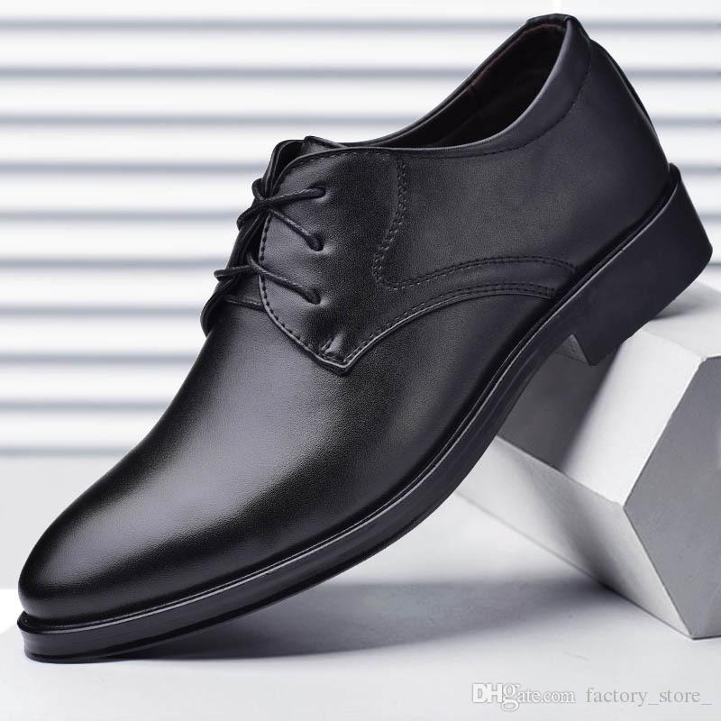 Top Brand Mens Classic Genuine Leather Business Shoes British Pointed Toe Wedding Dress Shoes Pumps Footwear Chaussure Homme