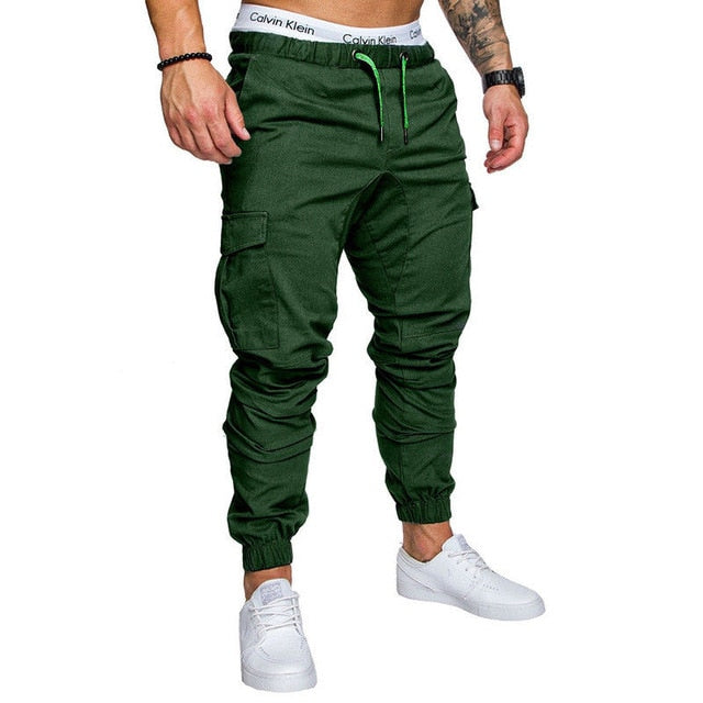 2019 Hip Streetwear Mens Joggers Multi-pocket Pants Elastic Waist Sweatpants Brand Trousers Male Overalls Solid Straight Slacks