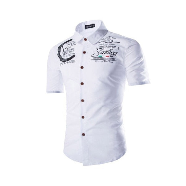 ZOGAA Men's Summer Short Sleeve Cotton Shirt Cotton Embroidered Print Size S-2XL Collection Young High Quality Shirt