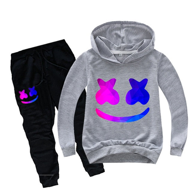Kids Tracksuit Boys Casual Clothes Set Marshmallow Costume DJ Smile Sport Suit for Girl Teen Long Sleeve Sweatshirt Hoodies Pant