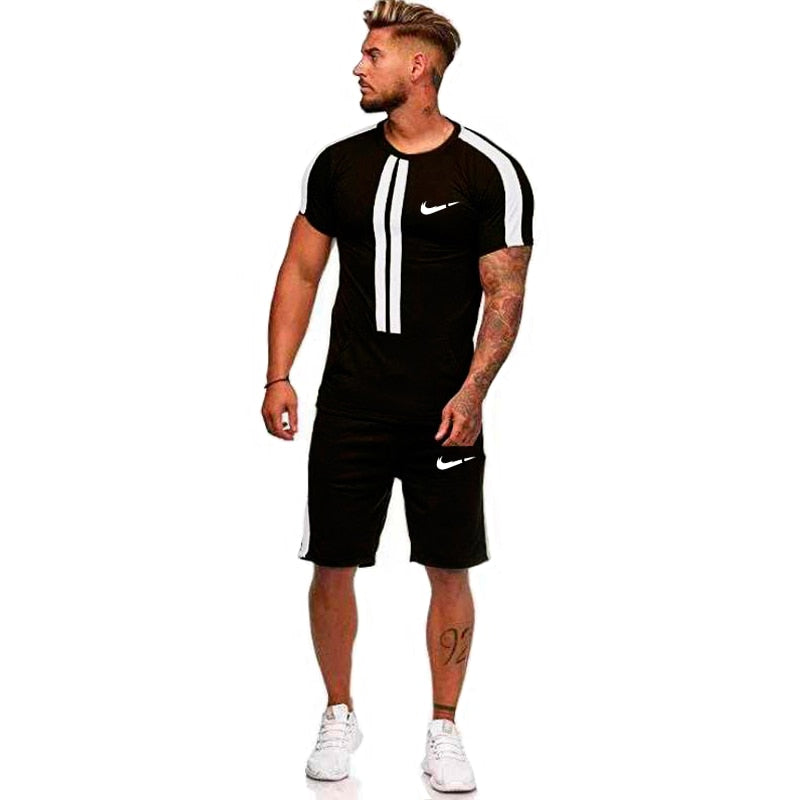 2019men's quick-drying running suit clothes jogging training gym fitness printing sports T-shirt pants sportswear two sets
