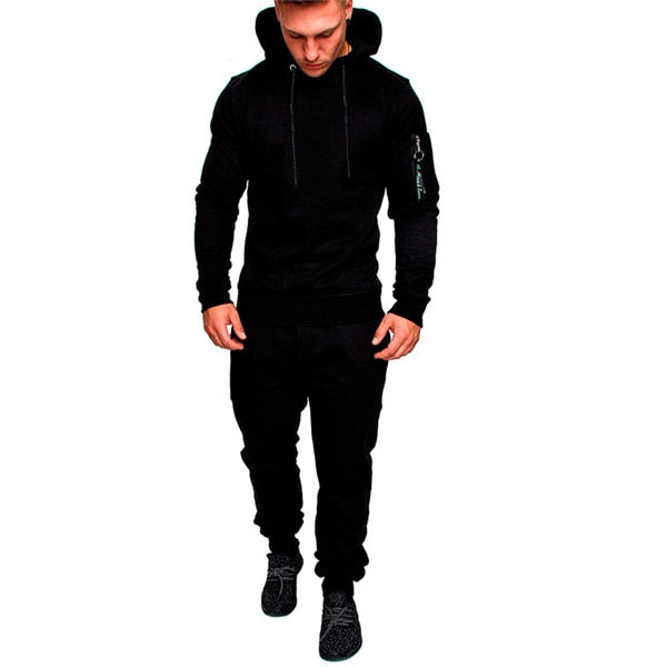Outdoor Sports Suit Men Sportswear Running Set Jogging Gym Training Hiking Fitness Sports Set Hooded Coat And Pants 2 PCS/Sets