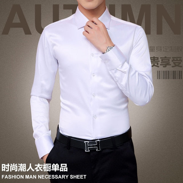 Plus Size 5XL 2019 New Men's Luxury Shirts Wedding Party Dress Long Sleeve Shirt Silk Tuxedo Shirt Men Mercerized Cotton Shirt