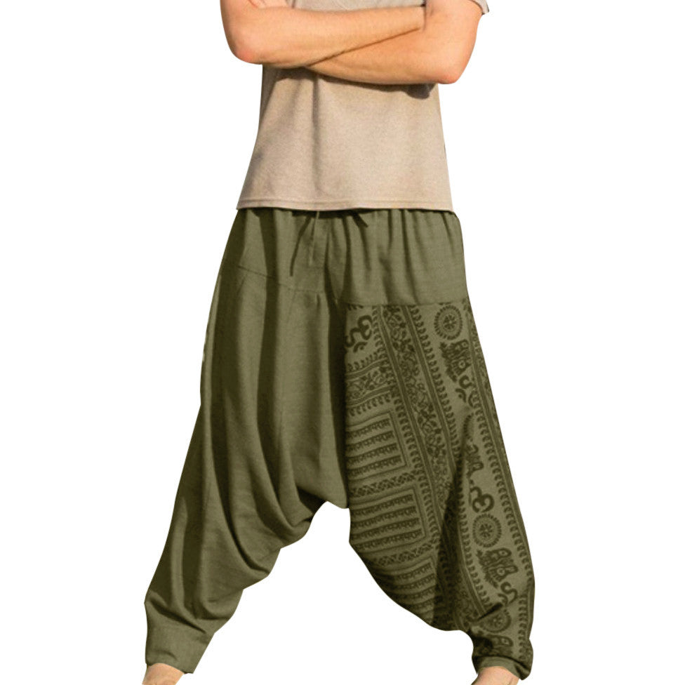Men's hip hop streetwear Long Casual Print Loose Trousers Large Size Nationality Trousers harem pants jogger pantalon hombre men