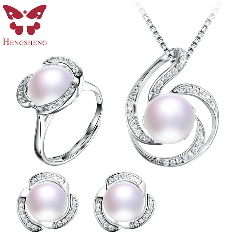 HENGSHENG Genuine Natural Pearl Women Jwelery Set