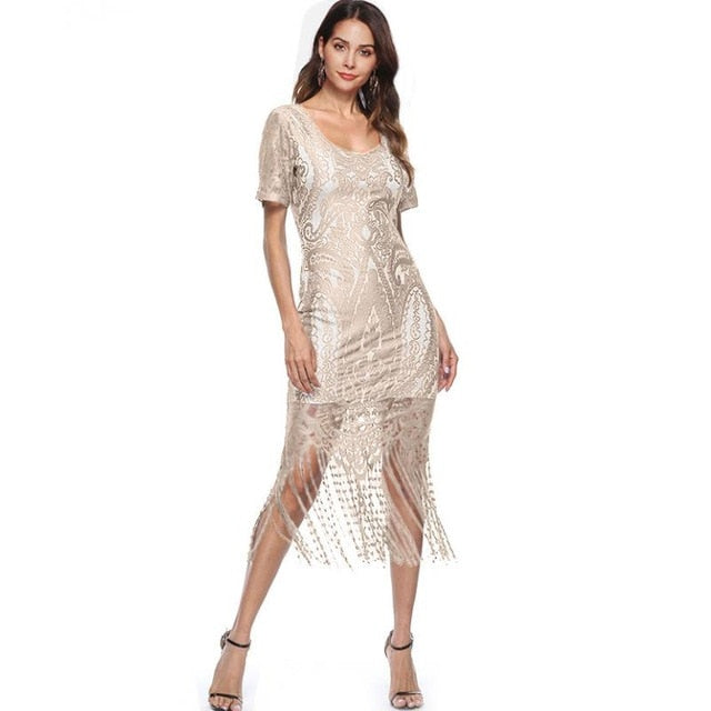 New Best tassel hem slim dresses Womens Elegant Sexy Crochet Hollow Pinup Party Evening Special Occasion Sheath Fitted Vestidos
