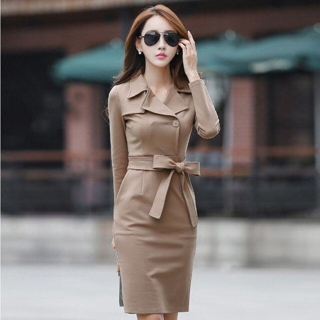 2018 New Spring Elasticity Warm Waist collect Dress Women Long Sleeves Midi Waist Butterfly Belt V-Neck Slim Ladies Dresses X134