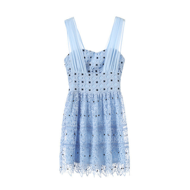 New  model of the  summer collect waist v neck show thin shallow blue lace G04140 sleeveless white gauze dress
