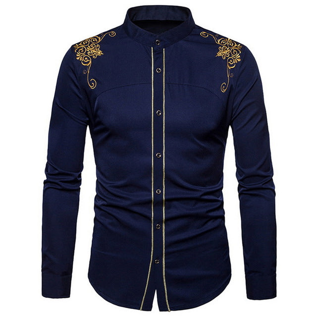 Adisputent Men's Formal shirts  Long Sleeve Shirt Men Plus Size Nightclub  Chemise Homme Shiny Metallicl