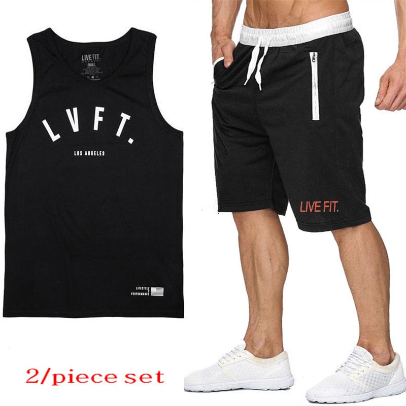 training set running suit mens sports suits gym clothing men jogging suits for men sportswear vest+shorts two-piece suit