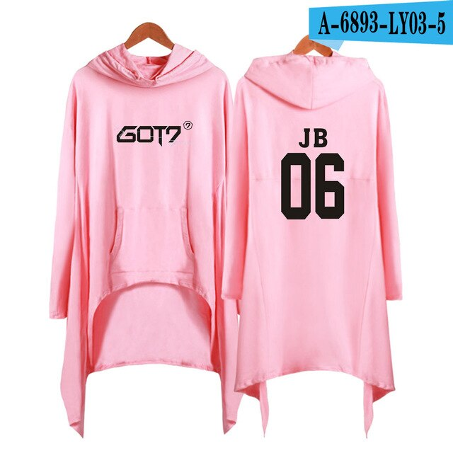 Hip-Hop Peripheral printed clothes GOT7 Shift Hoodies Autumn Long Sleeve Dress Idol Popular Streetwear women Casual Winter Dress