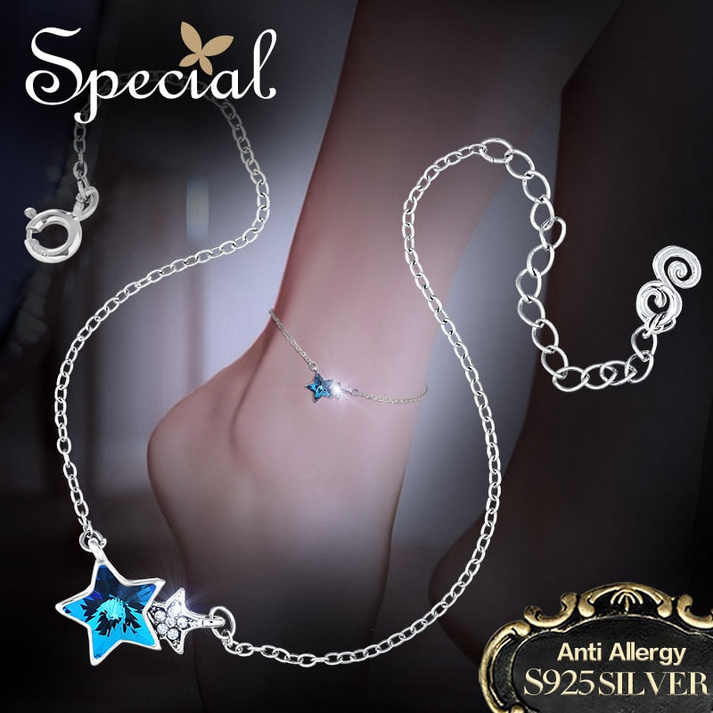 Special Fashion 925 Sterling Silver Anklets Stars Foot Accessories Zirconia Ankle Bracelets Foot Jewelry Gifts for Women S1601A