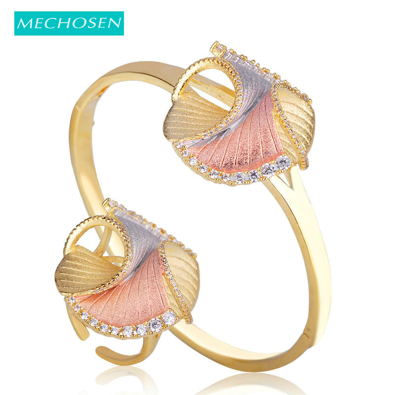 MECHOSEN Difficult Craft Special Design Jewelry Sets Bangle Ring 3 tones Brass Cubic Zirconia Celebrity Banquet Hand Accessories