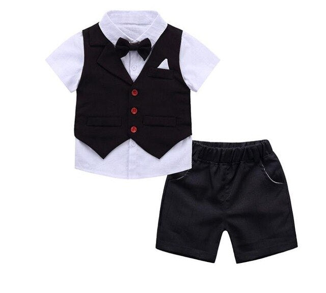 2-9 Years Boys Clothing Suit Set 2019 Summer Children Formal Wear Short Shirt Vest + Shorts Kids 3PC Suits Baby Clothes Cotton