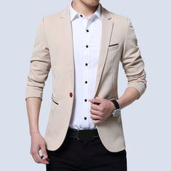Men's Casual Slim One Button Suit Blazer Fashion New Stylish Formal Coat Jacket Tops Slim Fitted Male Fashion Blazers