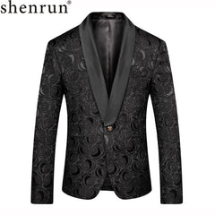 Shenrun Men Black Blazer Slim Fit Casual Suit Jacket Wedding Shawl Lapel Tuxdeo Male Jackets Man Blazer Party Prom Stage Costume