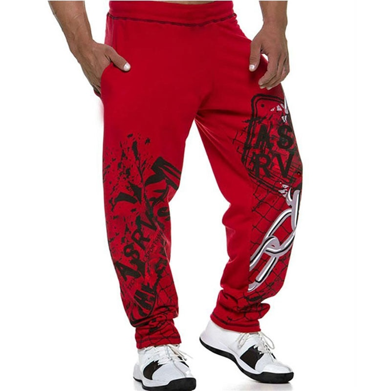 Muscle Men's Quality Summer Cotton Sweatpants Fitness Pants Men Joggers Casual Pants Personality Printing Sweatpants Trousers