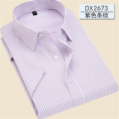 Fat Guy Plus Size 5XL 6XL 7XL Social Casual Easy-Care Implicit Striped Twill Pure Color Short Sleeve Men Formal Shirt Navy Green