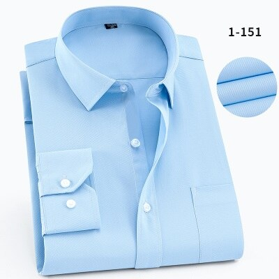 High quality men's big shirt large size 8XL 9XL 10XL 11XL 12XL 13XL14XL summer long sleeve wedding formal shirt blue