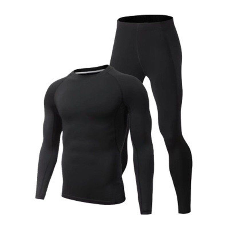 Brand Men's Tracksuits Basketball Football Running Tights Man Quick Dry Sportswear Black Long Sleeves T Shirt Sports Leggings