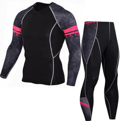 Men Sportswear Rashgard Compression Sports Suit Fitness Gym T Shirt MMA Dry Fit Running Shirt Tights Jogging Pants Men Plus Size