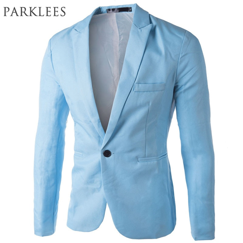 Brand Sky Blue Blazer Men Costume Veste Homme 2017 New Arrival Mens Slim Fit Blazer Jacket Stylish Red Black Pink Suit Men 3XL