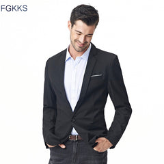 FGKKS New Arrival Fashion Blazer Mens Casual Jacket Solid Color Cotton Men Blazer Jacket Men Classic Mens Blazer Coats