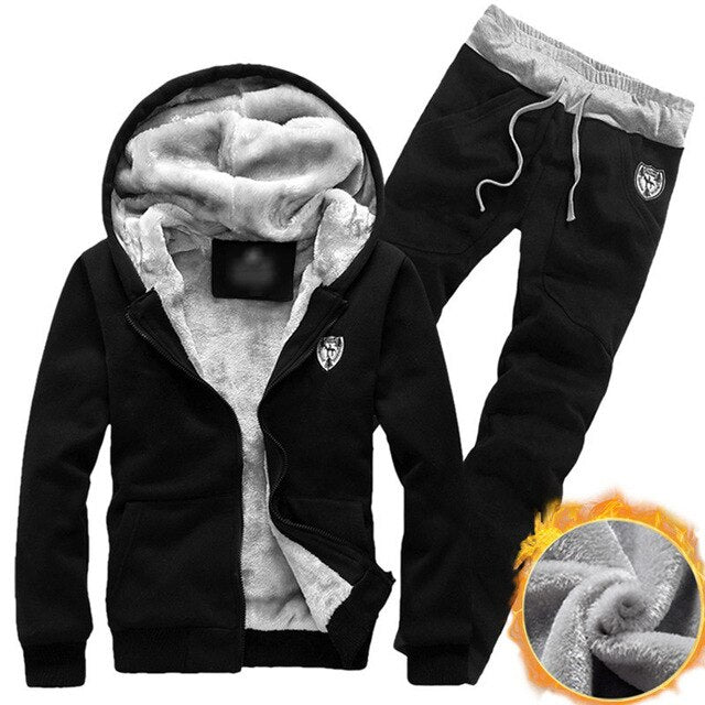 vertvie Winter Thick Men Sports Suits Tracksuit Hoodie Sportswear Zipper Fleece Hooded Jackets+Elastic Waist Pants Running Set