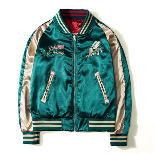 2017 Japan Yokosuka Embroidery Jacket Men Women Fashion Vintage Baseball Uniform Both Sides Wear Kanye West Bomber Jackets