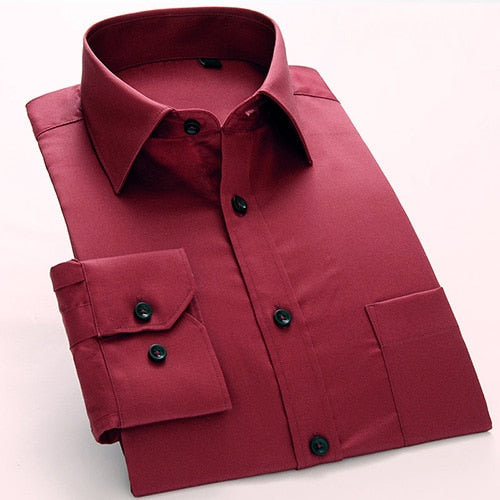 2018 New high grade mercerized cotton comfortable easy care no fade square collar long sleeve slim fit formal men dress shirts
