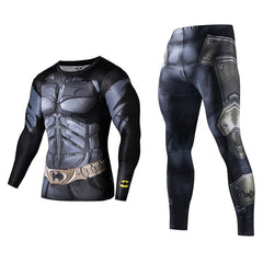Men Fitness Running Sets Clothing Superman Tracksuit Set Superman Captain America Sportswear Sets 3D Print Full Compression Sets