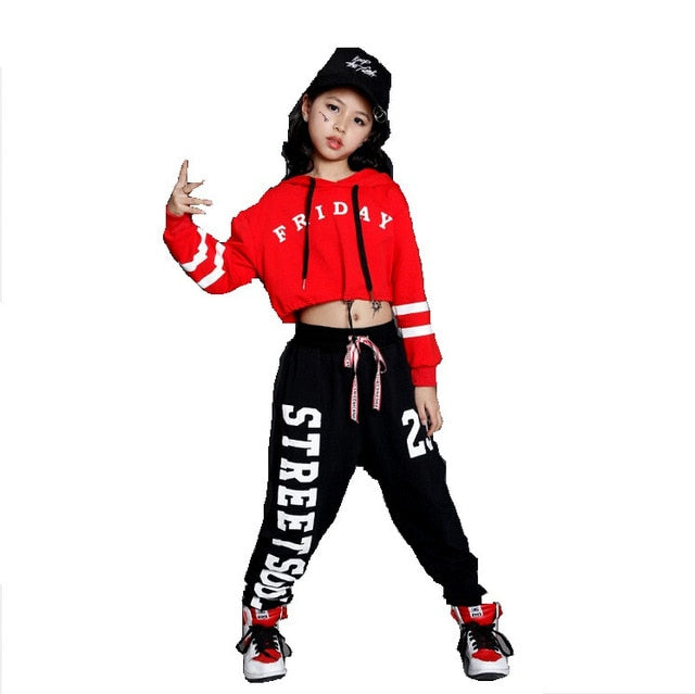 Girls Boys Loose Jazz Hip Hop Dance Sets Competition Costume Hoodie Shirt Tops Pants Teens Kid Dancing Clothing Clothes Wear