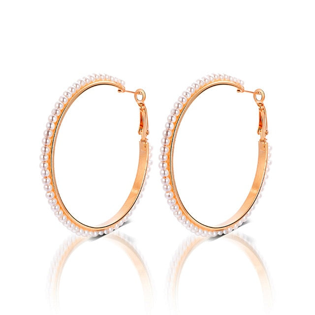 MINHIN Beautiful White Pearl Decoration Hoop Earring For Girl Special Wedding Jewelry Wholesale Accessory For Girl