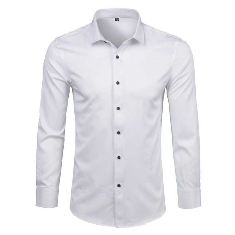Bamboo Fiber Mens Dress Shirt 2018 Brand New Solid Color Long Sleeve White Shirt Men Casual Button Down Elastic Formal Men Shirt