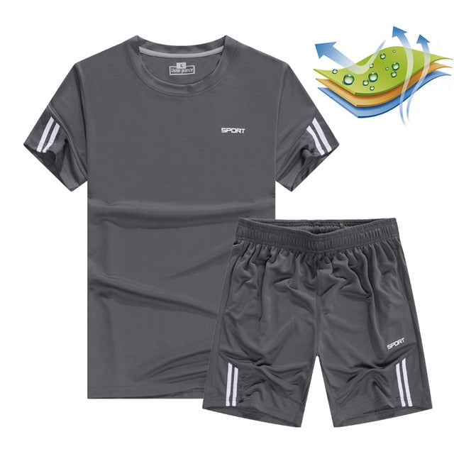 Quick Dry Men's Sport Running Suits Basketball Soccer Training Tracksuits Jersey Summer Fitness Sportswear Gym Clothing Sets