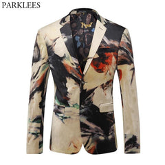 Mens Floral Blazer Jacket 2018 Fashion Single Breasted Two Button Formal Suit Blazer Men Casual Business Prom Perfor Blazers 5XL