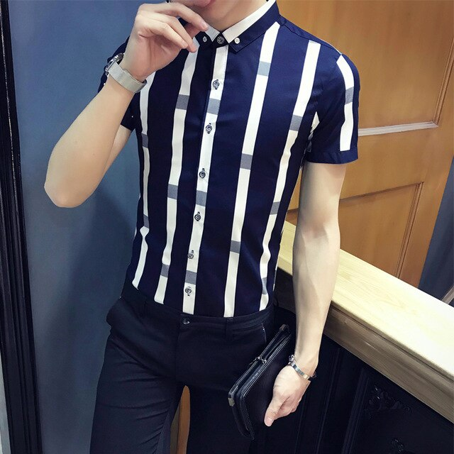 Pattern stripe shirt men 2018 summer men fashion short sleeve slim fit shirt men camisa masculina social formal shirt men navy