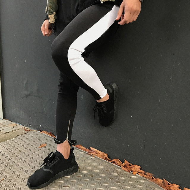 2018 High Streetwear Jogger Track High Quality Sportswear Pants Men Side Stripe Bottom Zipper Drawstring Sweatpants