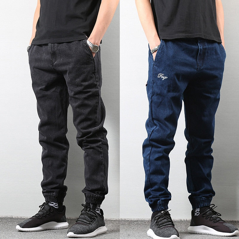Japanese Style Fashion Men's Jogger Jeans Black Blue Color Streetwear Punk Pants Hip Hop Jeans Men Slim Fit Cargo Pants Homme
