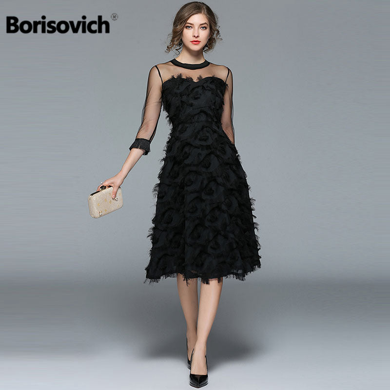 Borisovich Luxury Women Evening Party Dresses New Arrival 2017 Spring Fashion Tassel O-neck Elegant Black Female Dress M070